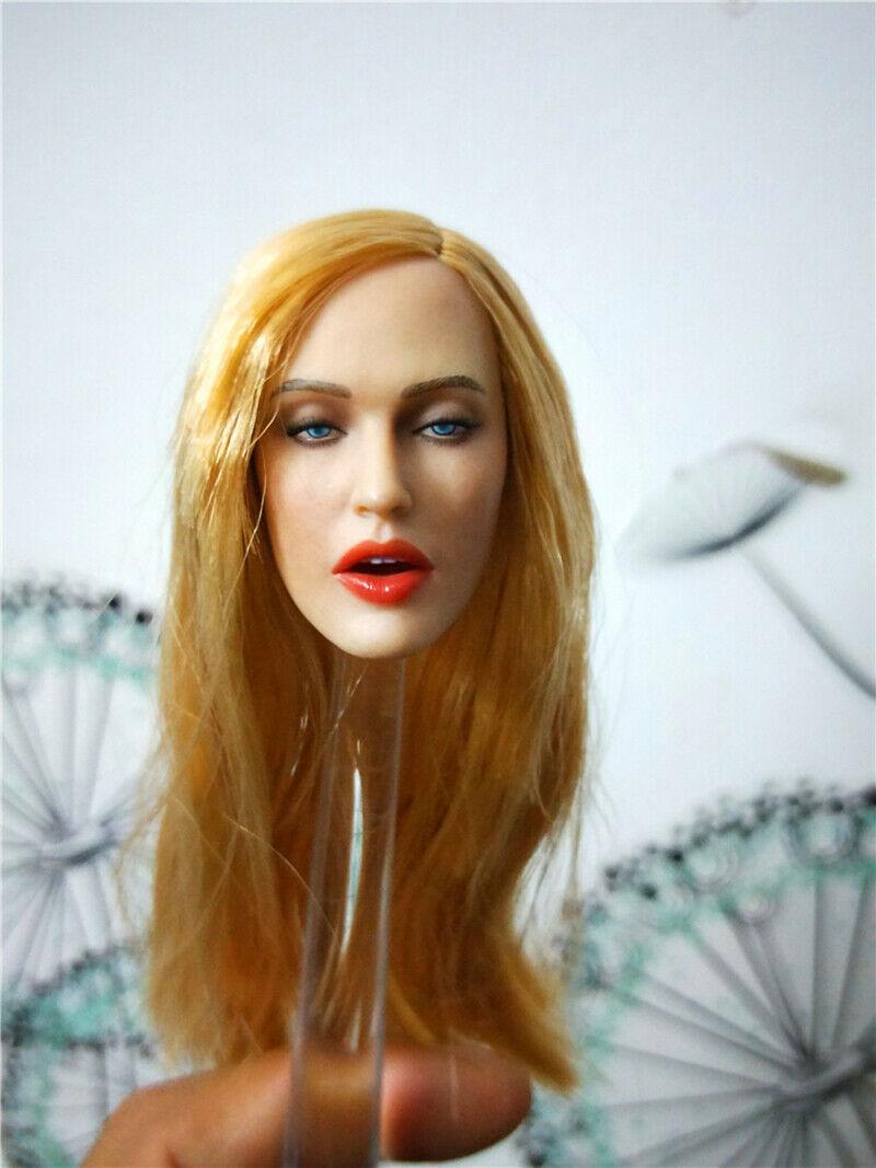 Custom 1//6 Girl Head Blonde Hair Singing Open Mouth PVC Fit 12/'/' Female Doll