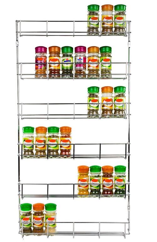 Wall Mounted Spice Rack shelf pantry holder door cupboard wall mount spice rack 2-6 tier