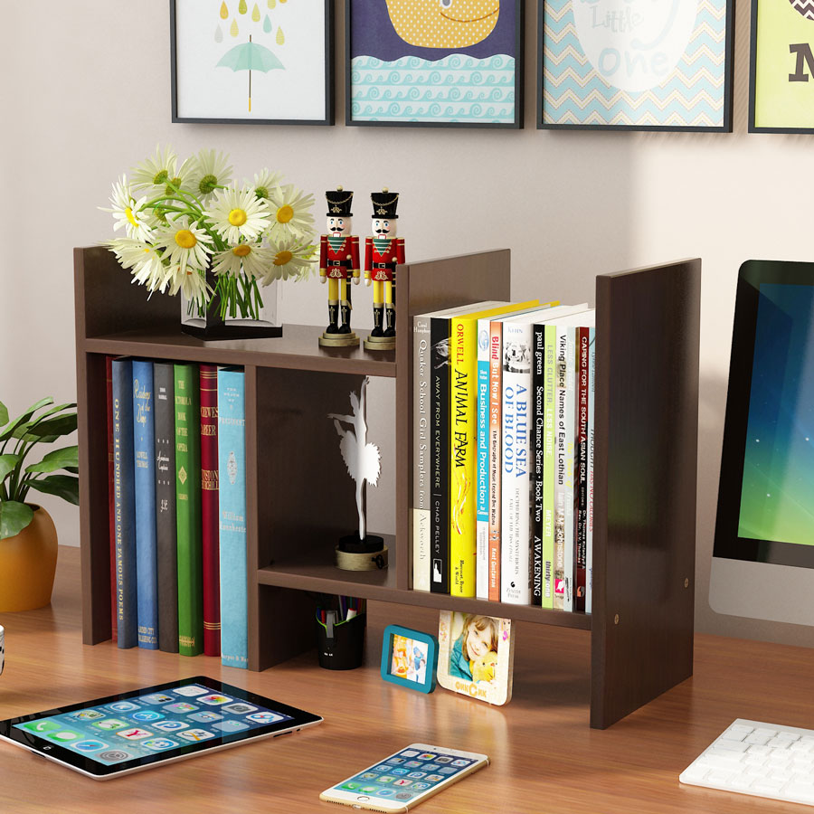 Details About Wood Table Top Book Shelf Rack Books Cds Storage Organizer Bedroom Diy Bookcase