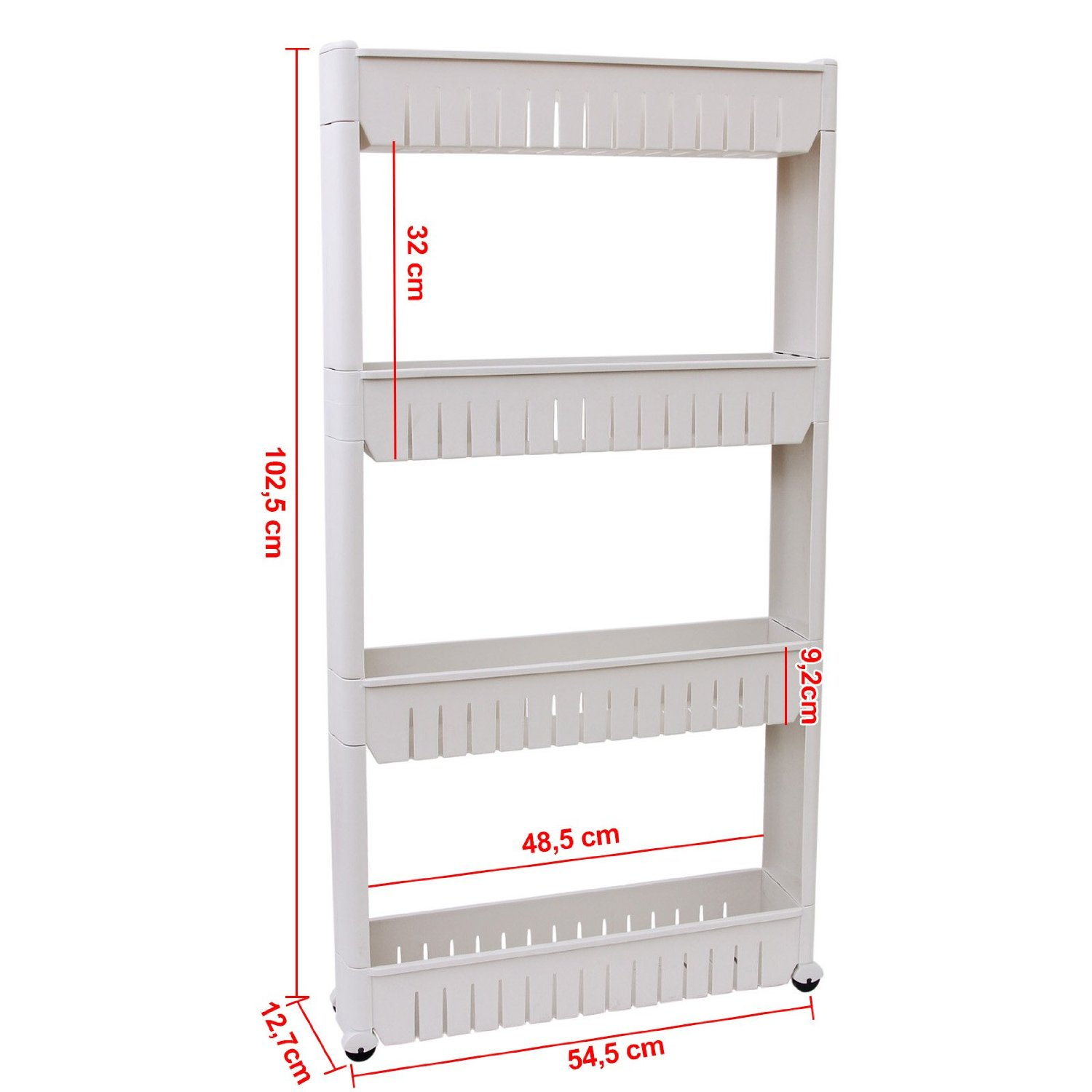 Rolling 3 4 Shelf Slim Can Spice Rack Holder Cart Kitchen Storage