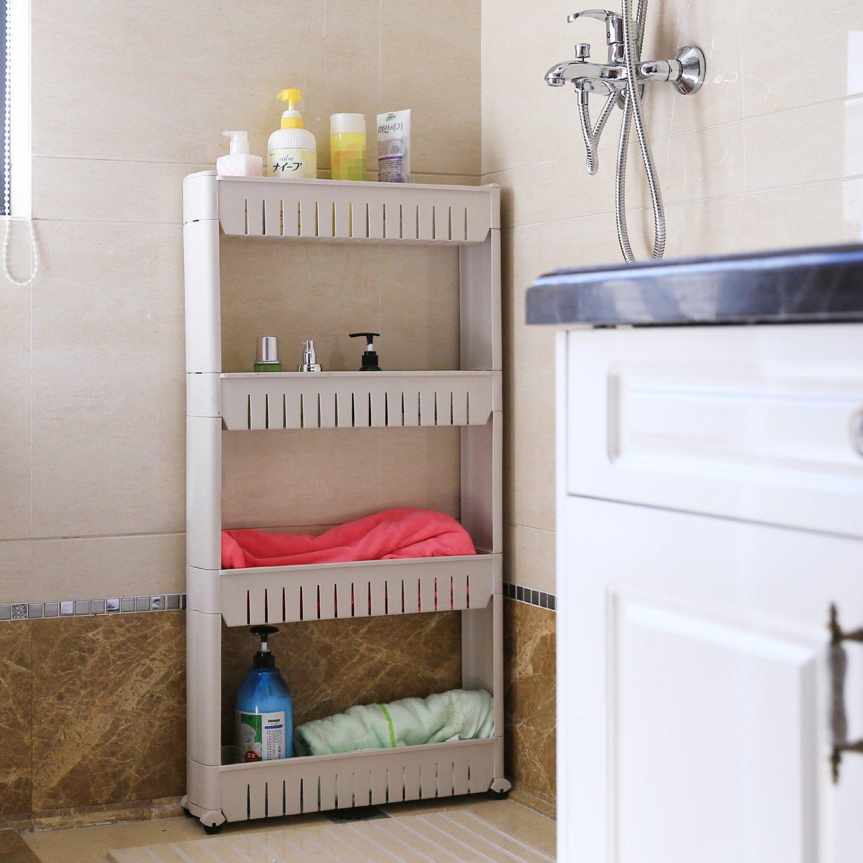 Rolling 3/4 Shelf Slim Can Spice Rack Holder Cart Kitchen Storage Cabinet  (US)