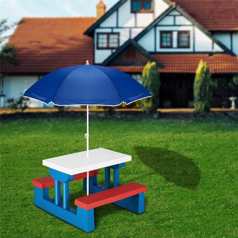 Kinder Gartenmöbel Bank Tisch und Sonnenschirm Picknick Set robust ...