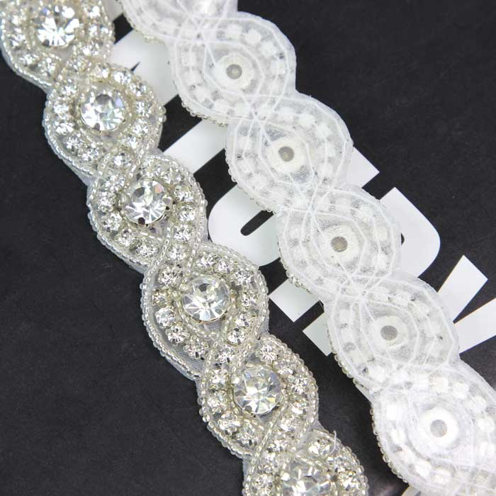 Handmade Sew Iron On Trim Clear Rhinestone Beaded Costume Applique Silver Tone