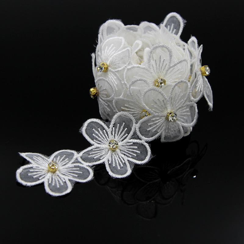 DIY 2 Yard Vintage Beads Flower Lace Trim Wedding Bridal Ribbon Applique Costume