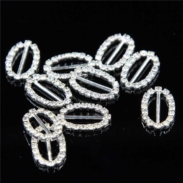 2pc 36x50mm Diamante Rhinestone Bikini Belt Buckle Ribbon Slider Wedding Decor