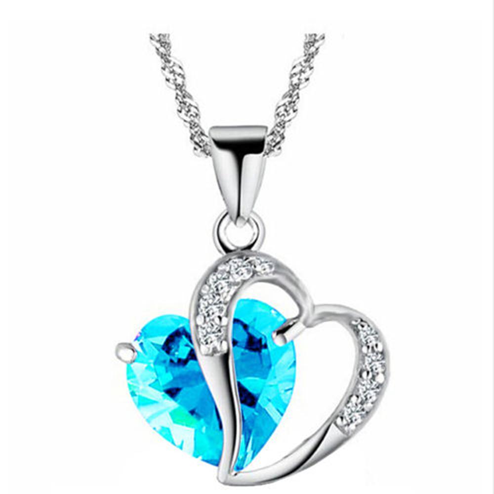 Fashion women heart crystal rhinestone silver chain pendant necklace fashion women heart crystal rhinestone silver chain pendant necklace jewelry ebay aloadofball Images