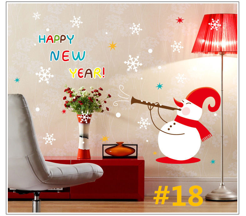 Diy christmas new year stars waterproof pvc mural decal for Christmas window mural