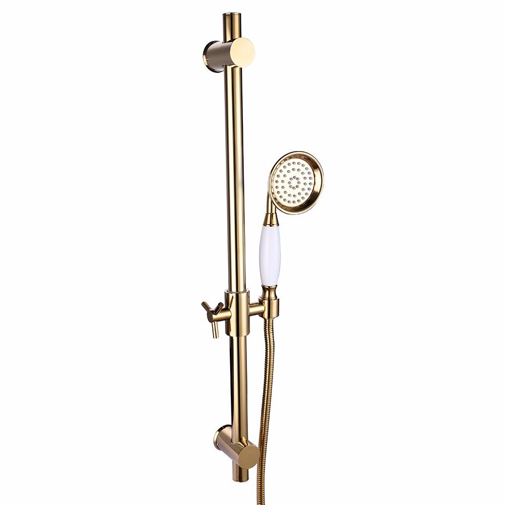 Height Adjustable Brass Shower Head Hose Set Gold Sliding Bar ...