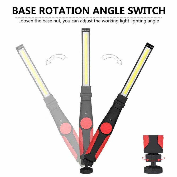 LED COB Hand Torch Magnetic Work Light USB Rechargeable Garage Inspection Lamp