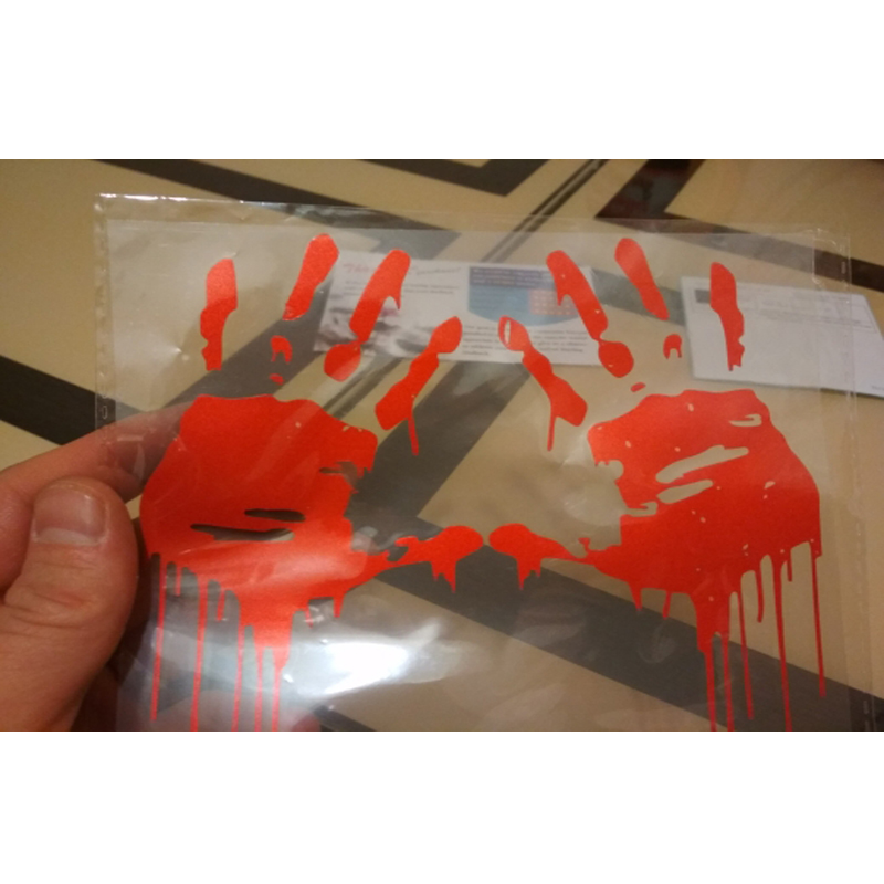1pair Zombie Bloody Hands Print Thriller Car Sticker Motorcycle Window Decal