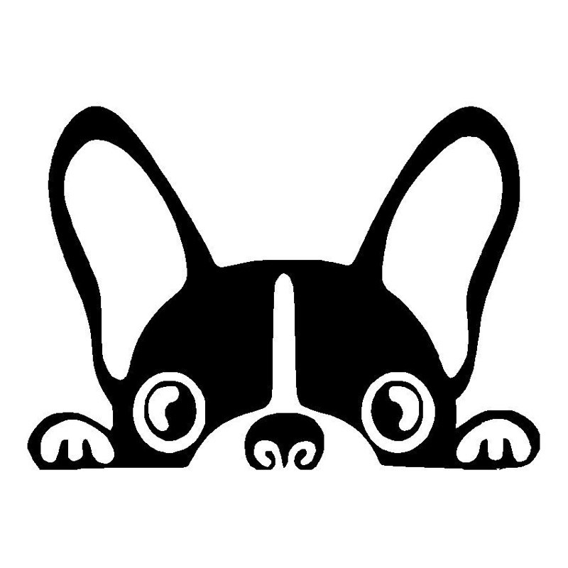 boston terrier dog vinyl decal cute peeping peek pet car tail peer rh ebay com boston terrier clipart boston terrier silhouette clip art
