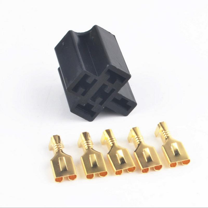 10set 40a 5 Pin Relay Connector Socket 5 X 6 3mm Terminals