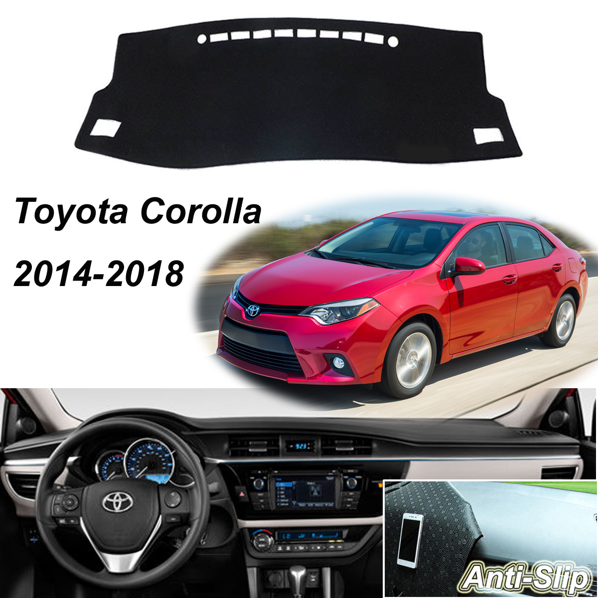 Car & Truck Parts Gray Non-Slip Dash Mat Cover For Toyota Corolla 2014-2018  Dashboard Sun Carpet Parts & Accessories