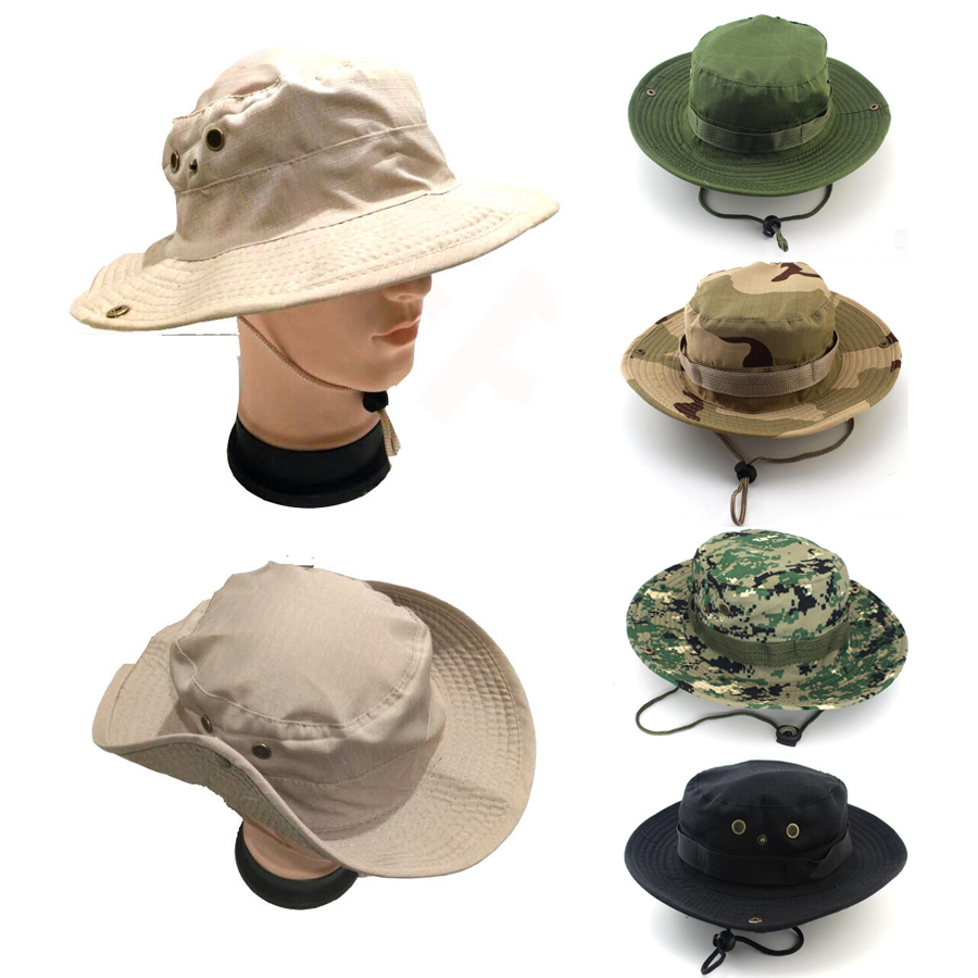 cc34e0220e9 Boonie Bucket Hat Cotton Hunting Fishing Military Safari Summer Outdoor Cap  Men. Features