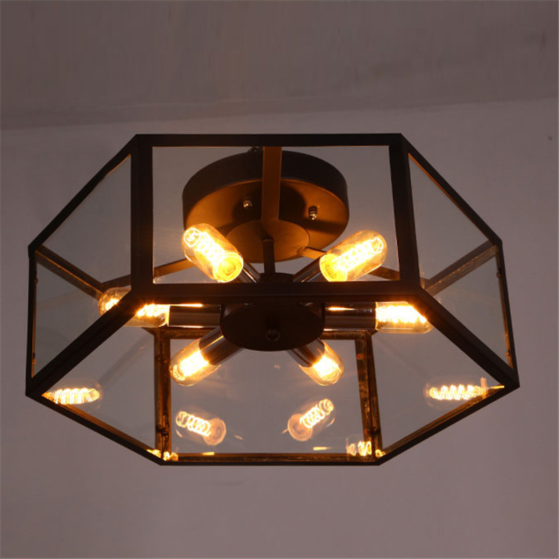 newest d0af3 bf285 Details about 6-Light Industrial Hexagon Semi Flush Mount Ceiling Light  with Clear Glass Shade