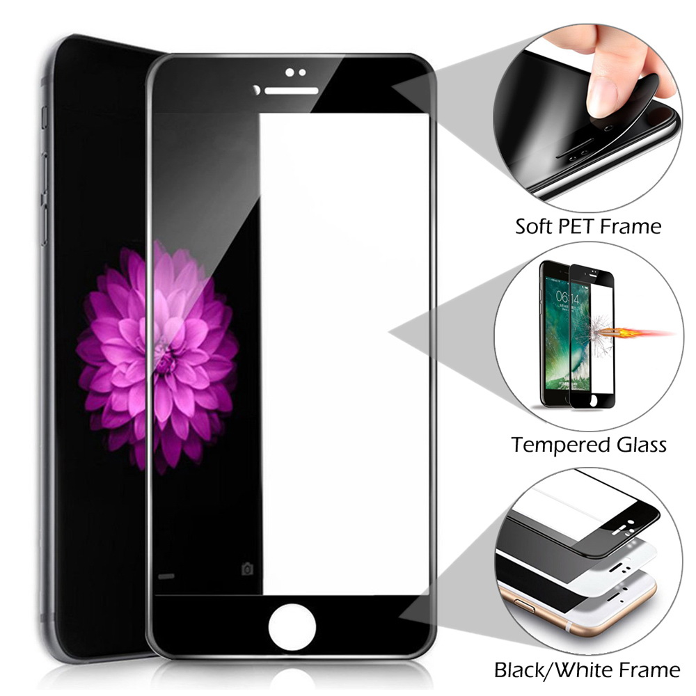 Soft Frame Full Coverage Tempered Glass Screen Protector For iPhone ...