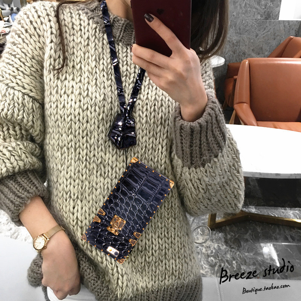 Details about For iPhone X XS XR 6 7 8 Luxury Trunk Case Classic Pattern  Back Cover+Lanyard UK