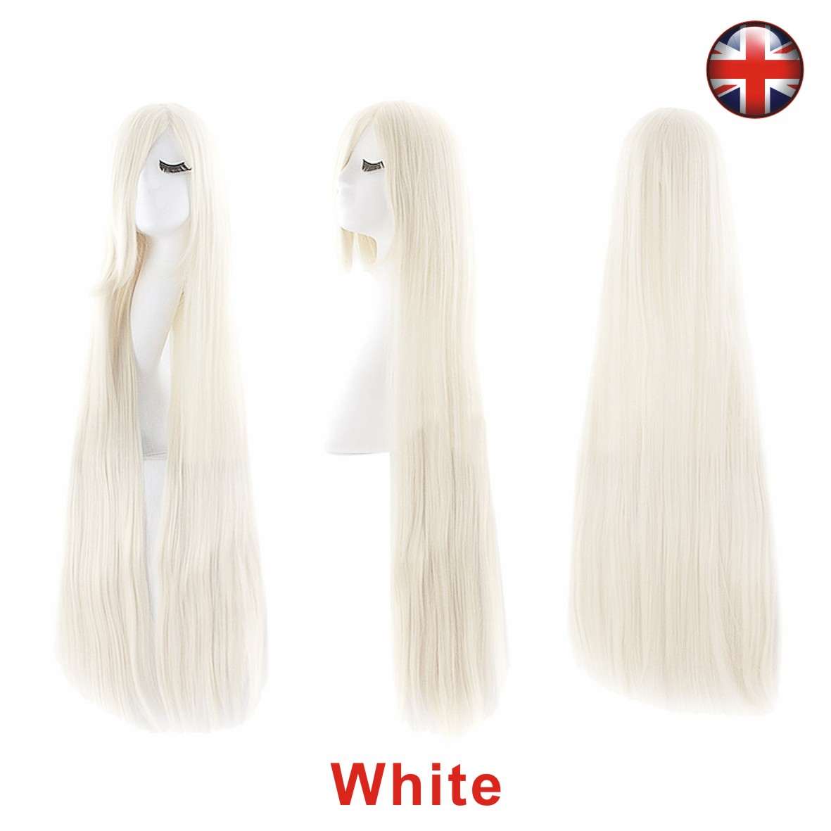 UK Long 100cm Straight Cosplay Party Women Anime Hair Full Wig Halloween