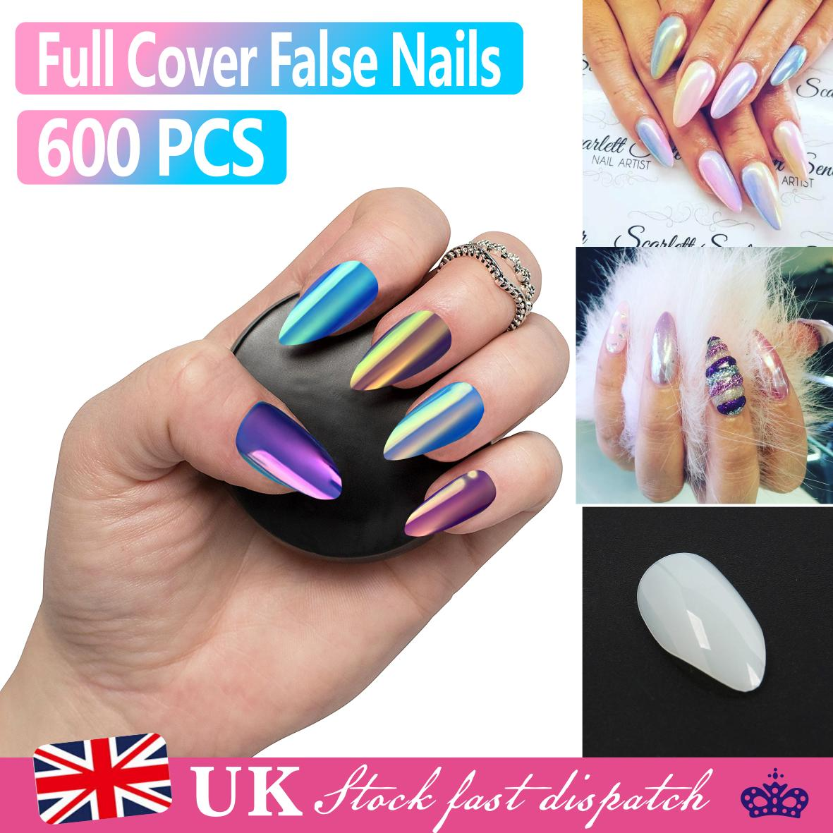 600 False Nail Stiletto Full Cover Natural Acrylic Artificial sizes ...