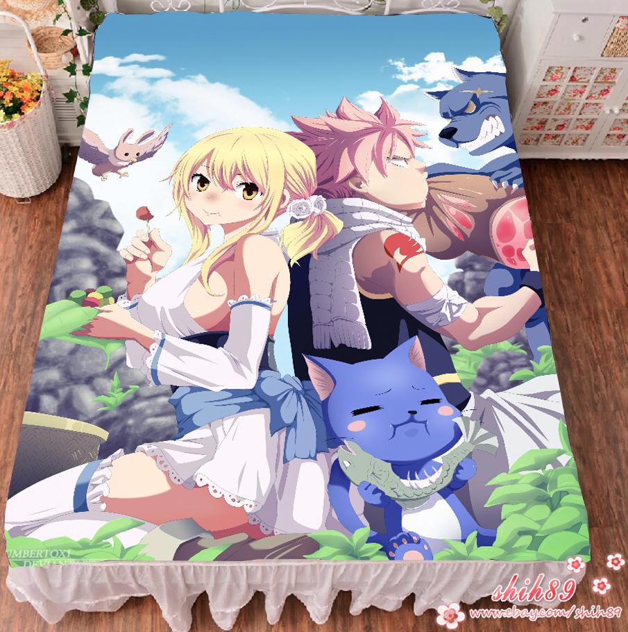 Anime fairy tail natsu lucy otaku bed sheet bedding coverlet blanket cosplay ebay - Fairy tail lucy et natsu ...