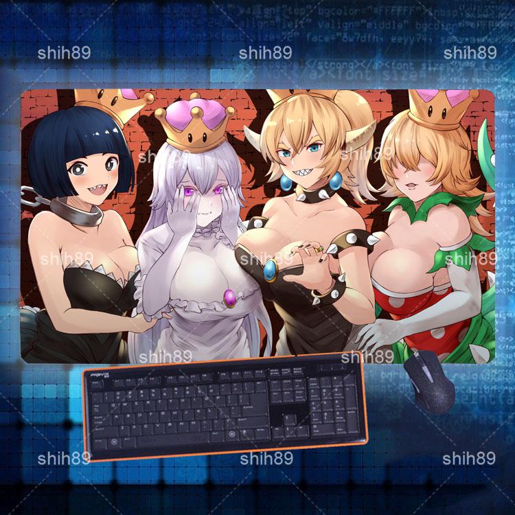 40*70cm Anime Super Mario Bros Bowsette Mouse Otaku Pad Play mat GAME Mousepad
