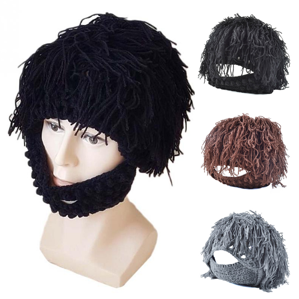 1Pc Winter Warm Wig Beard Mustache Knit Crochet Hat Beanie Cap Cosplay  Barbarian ffc5480e5fc