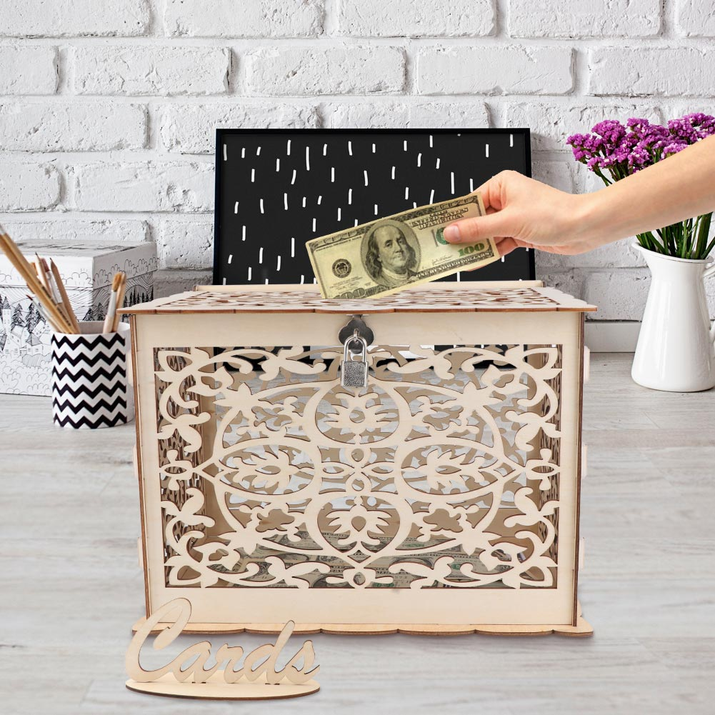Gift Boxes For Weddings: DIY Wedding Gift Card Box Wooden Money Box With Lock