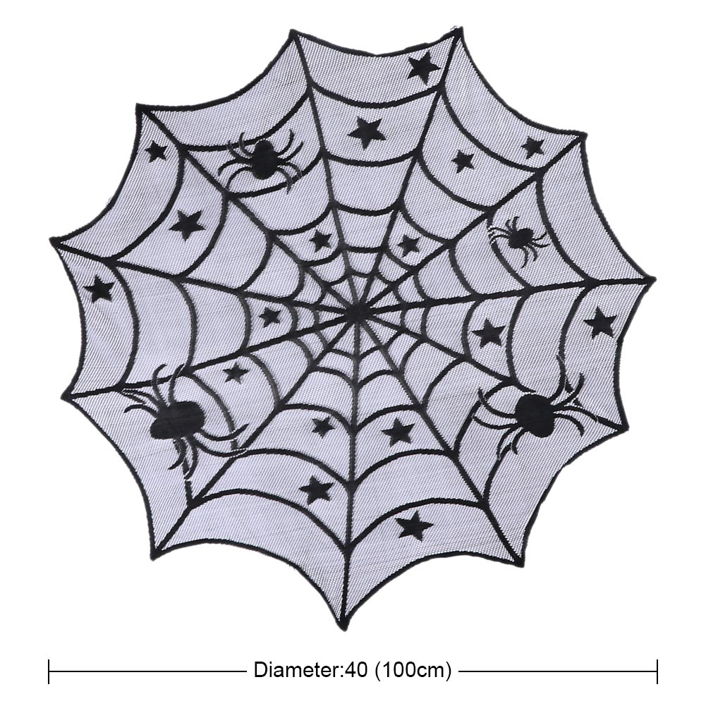 "40""spider web mantle black lace round tablecloth halloween spiderweb"