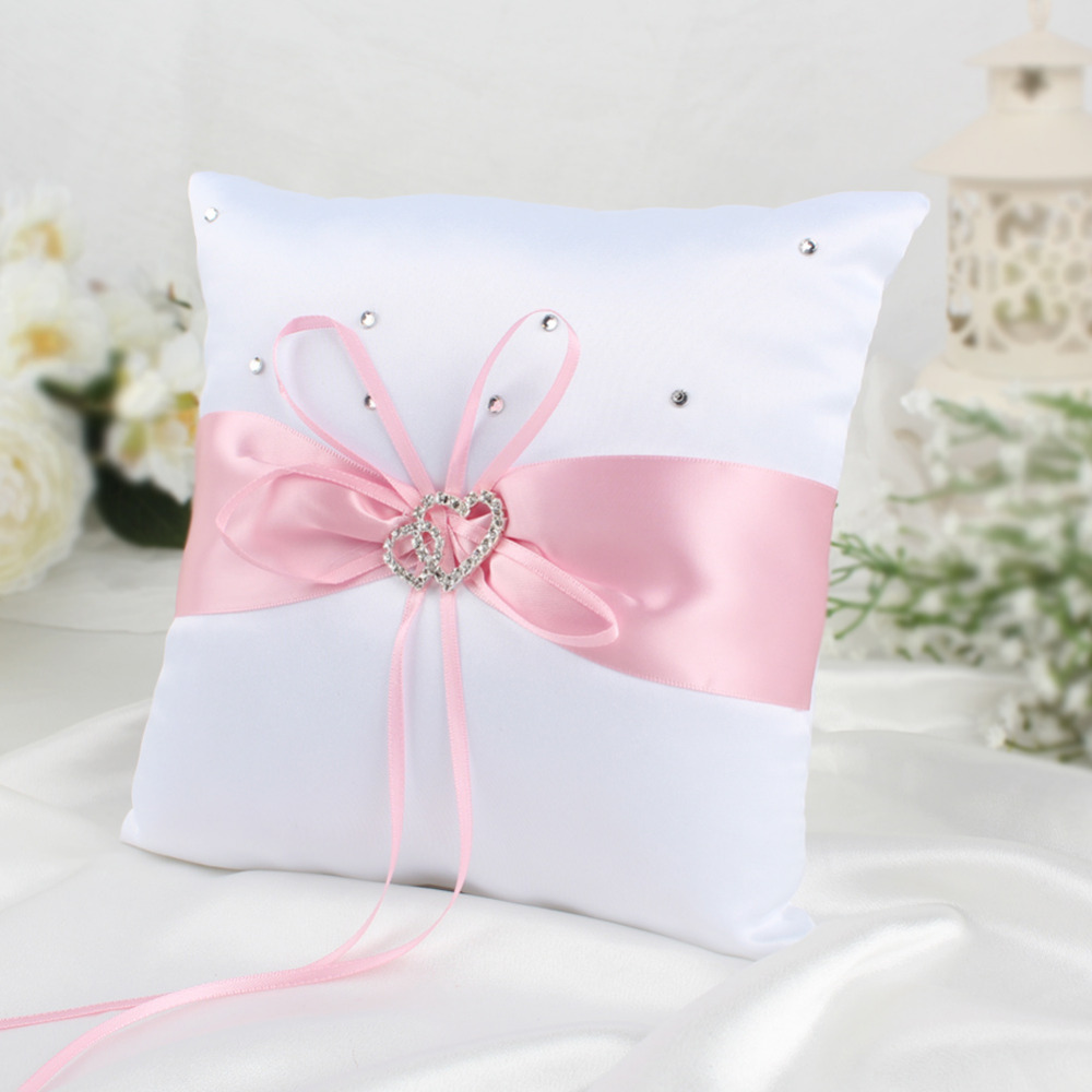 Double Heart With Crystal Diamond Wedding Ceremony Ring Pillow ...