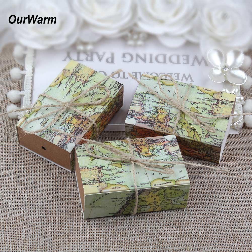 50100x Wedding Favors Paper Kraft Candy Box Gift Boxes Travel Theme