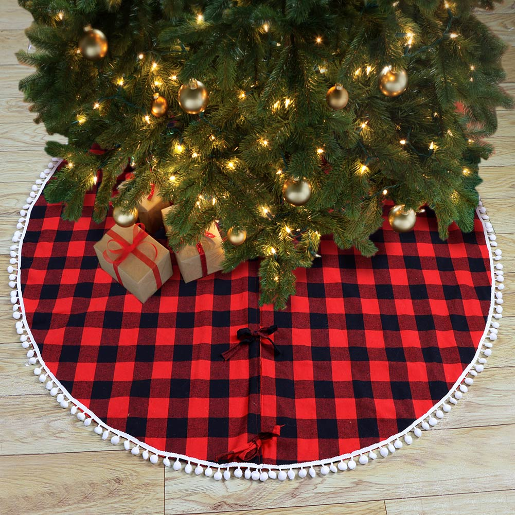 red black buffalo plaid christmas tree skirt pom pom balls edge xmas tree skirt