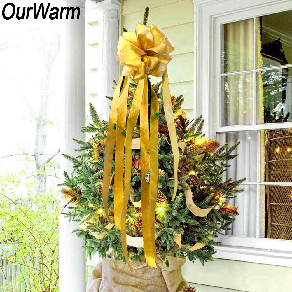 Big Christmas Bow Bowknot Door Window Garland Xmas Tree Top Topper