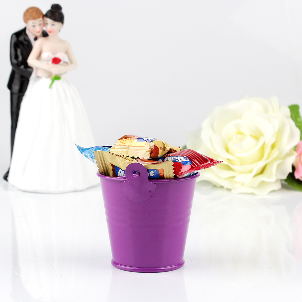 12 Purple Mini Tin Metal Pails Bucket Wedding Favors Baby Shower ...