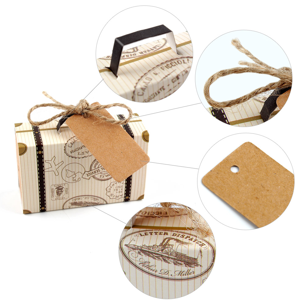 50/100 Travel Theme Mini Suitcase Candy Box Kraft Paper Container ...