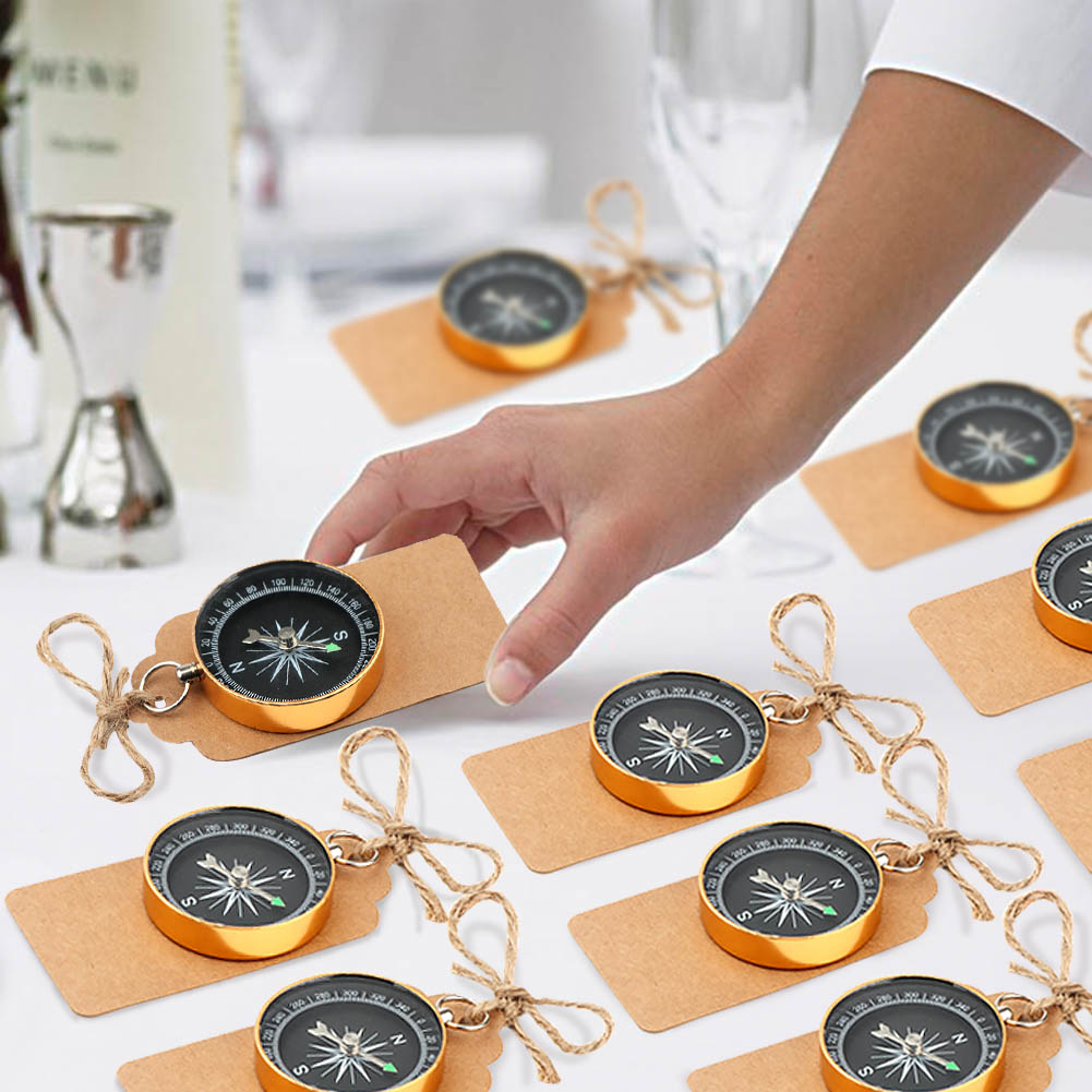 50×Nautical Compass with Tags Wedding Birthday Favors Souvenir Gift for Guests