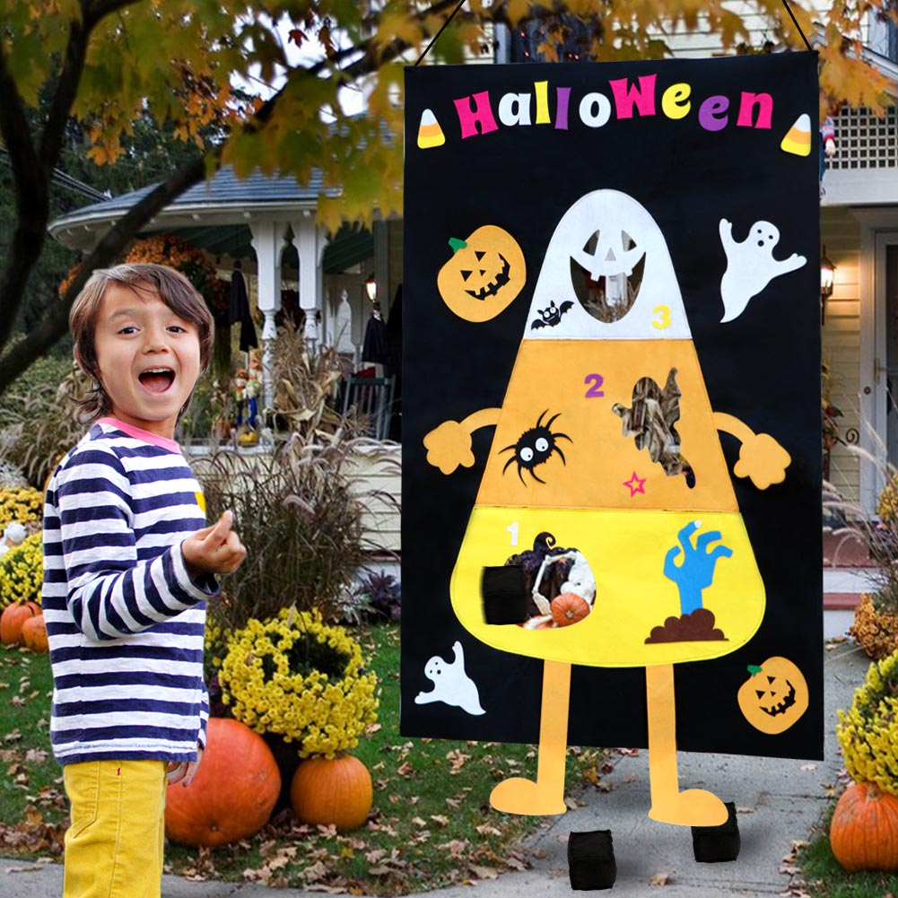 Terrific Details About Felt Candy Corn Hole Bean Bag Toss Game Pumpkin Ghost Banner Halloween Games Onthecornerstone Fun Painted Chair Ideas Images Onthecornerstoneorg