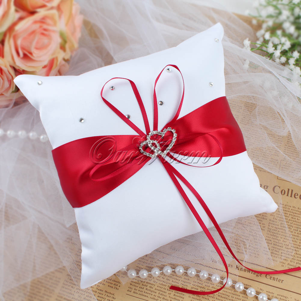 Wedding Page Boy Ring Pillow Double Heart Diamond Rhinestone