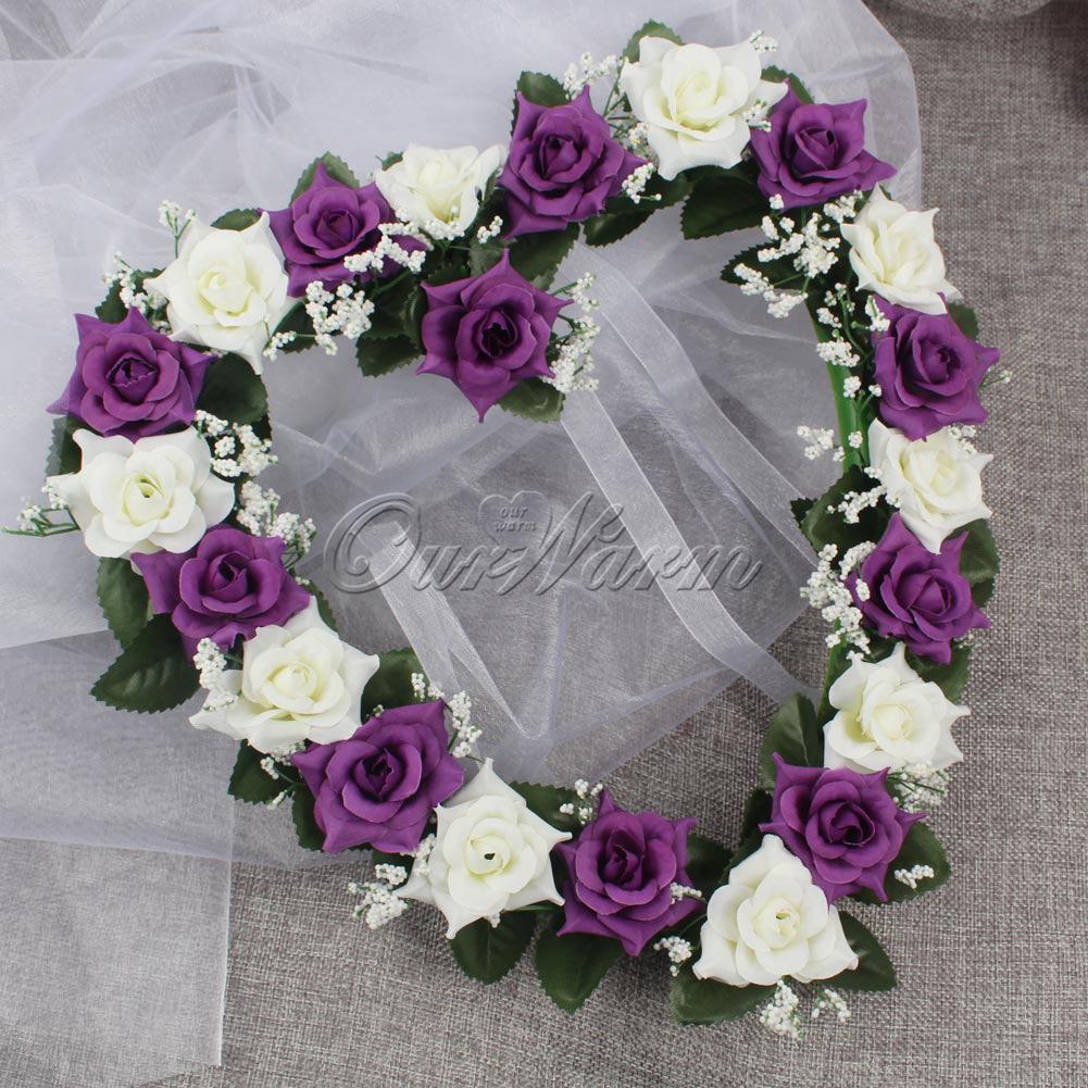 Purple Heart Shape Rose Wreath Silk Ribbon Flowers Garland Door Wall