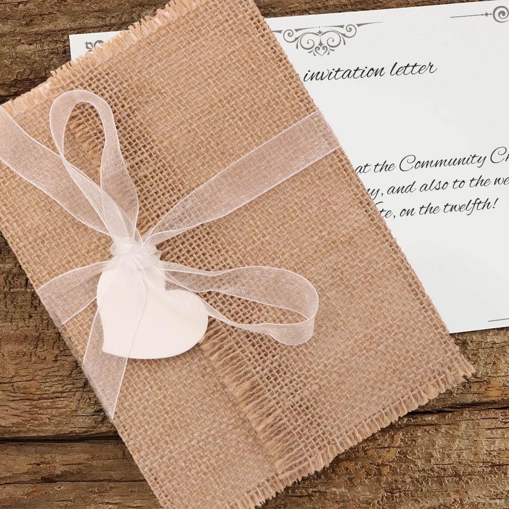 10pcs marriage wedding burlap invitations cards with ribbon