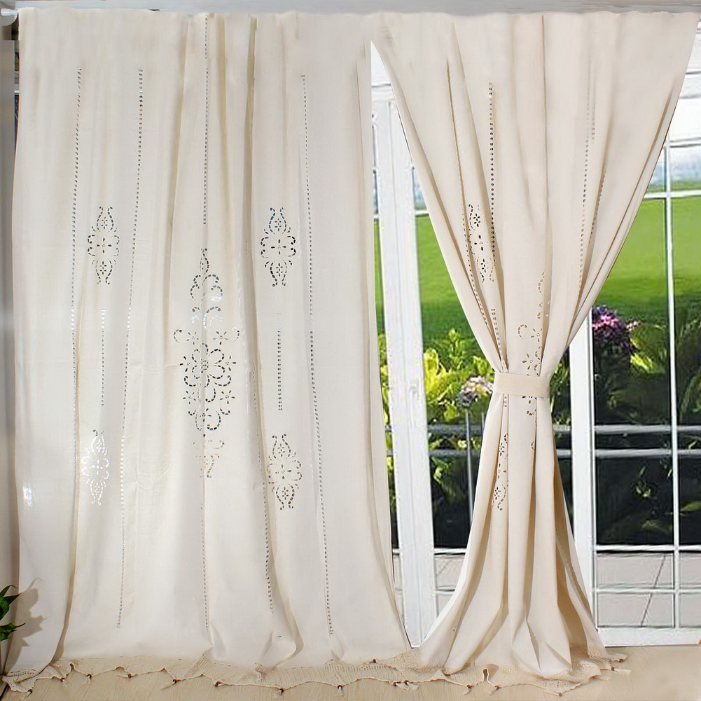 Details about Cotton Linen Crochet Window Curtain Country Living Room Hotel  Lace Panel Drape