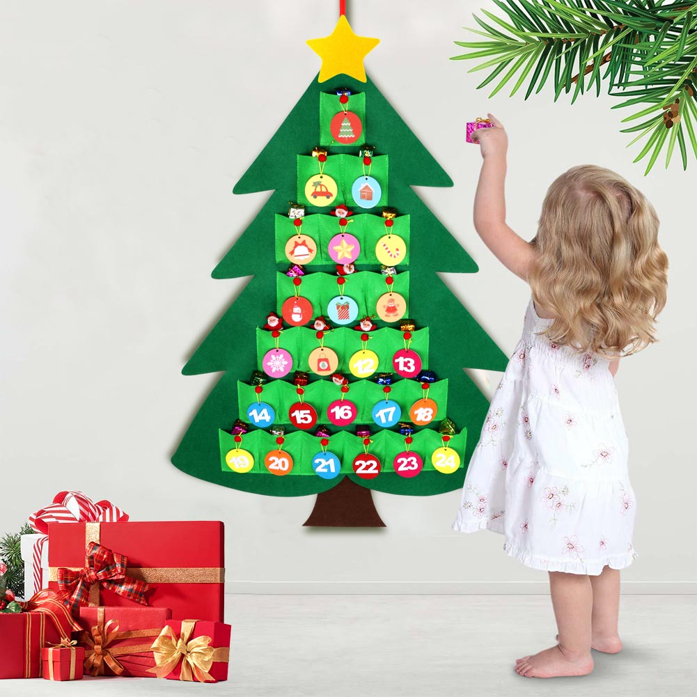 Christmas Countdown Calendar.Details About Christmas Advent Calendar Countdown Felt Xmas Tree 24 Days Kids Gift Home Decor