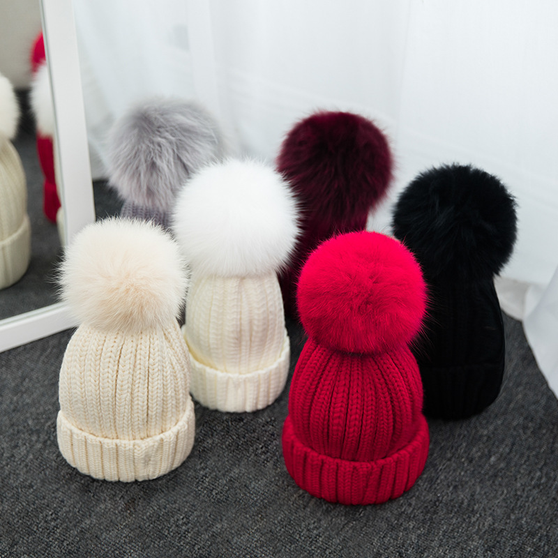 ad89dcee3 Winter Hats Real Fox Fur Pom Pom Bobble Women Soft Knitted Beanie ...