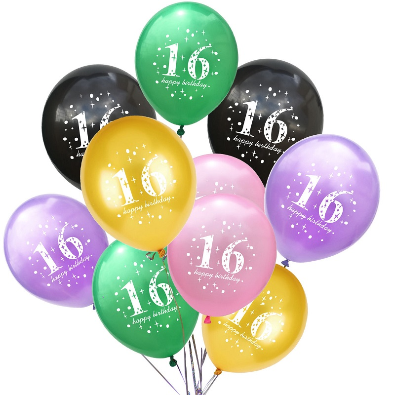Details About 12 Happy 16th Birthday Latex Balloons Party Decoration Gold 5 Colors