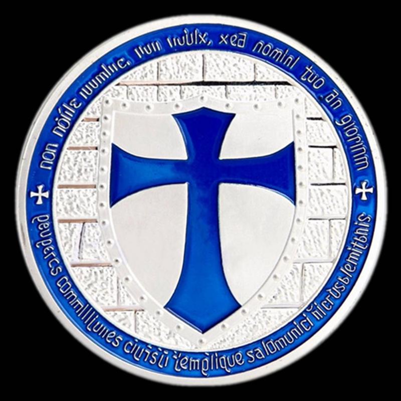 Knights Templar Cross Coin Soldiers Of Christ Token Medallion Freemason Blue
