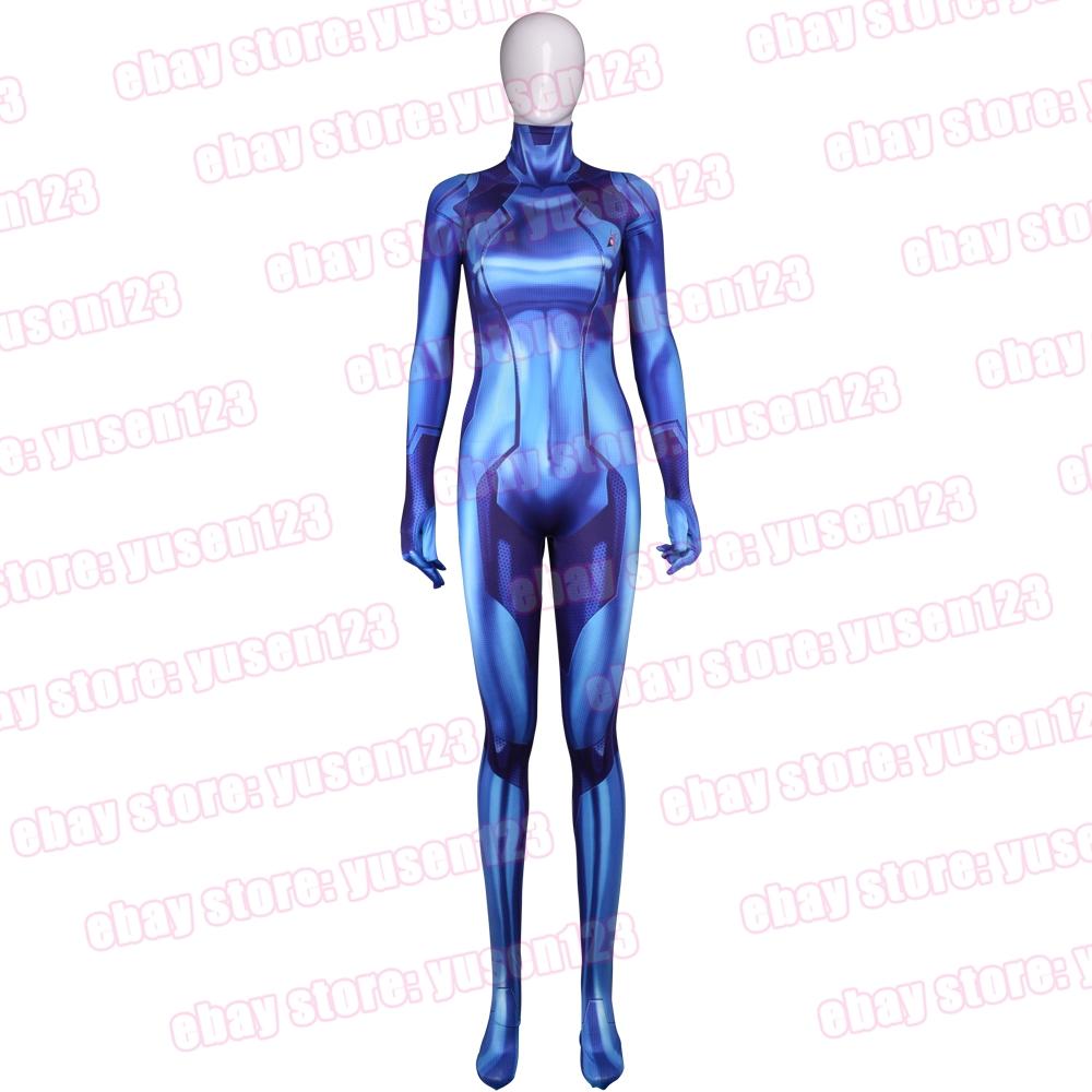Samus Aran Blue Jumpsuit Cosplay Costume Halloween Bodysuit Adult ...
