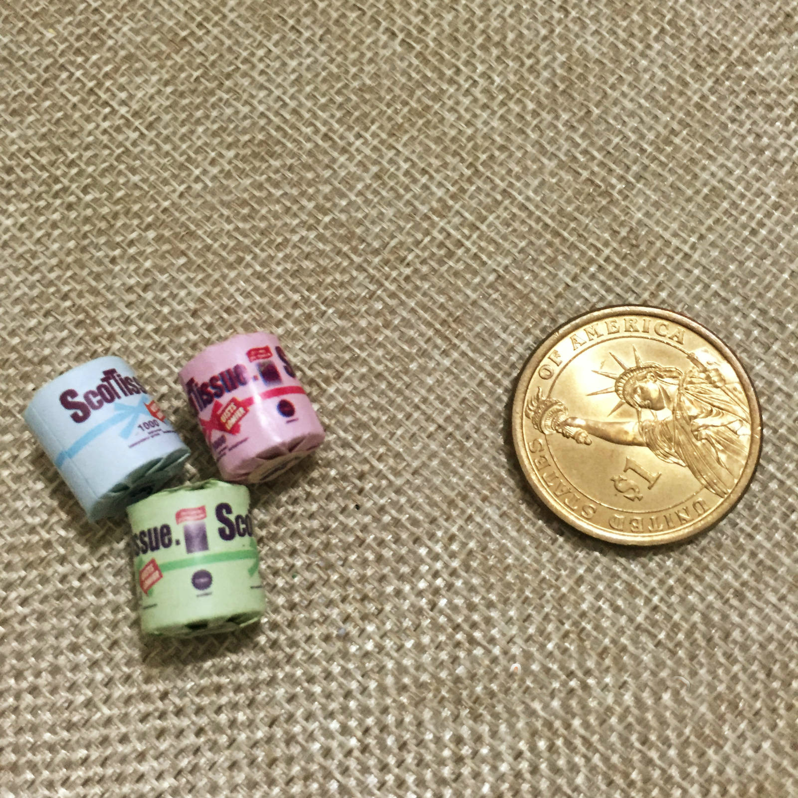 3Pcs Roll of bathroom tissue toilet paper 1:12 dollhouse miniature toy VVUS