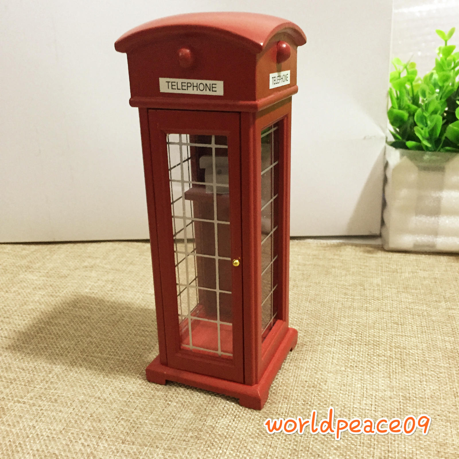 Details about Dollhouse Red Old-Fashioned Public Telephone Booth 1:12  Miniature Decor