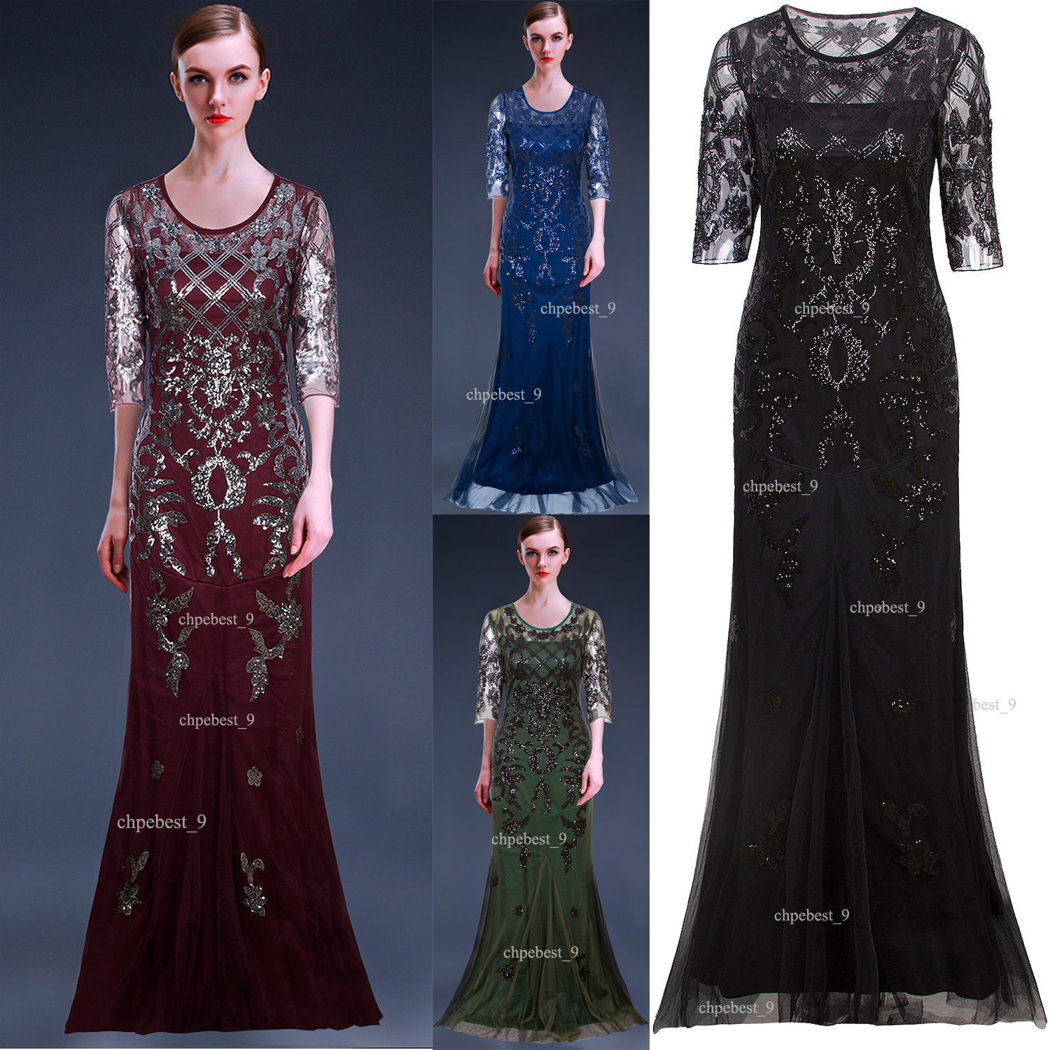Evening Gowns For Womens Long Prom Dresses Sequins Wedding Formal ...