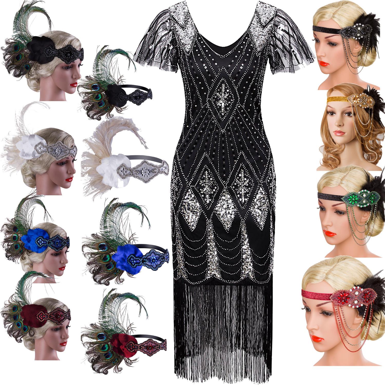 Details about Black Vintage 1920s Flapper Dress Fringe V Neck CapSleeve  Evening Gown Plus Size