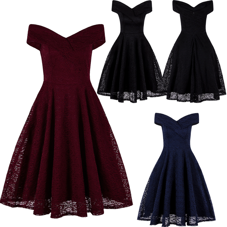 a1f6f8ebff8 Women s V-Neck Vintage Style 1950 s Retro Rockabilly Evening Party Swing  Dress